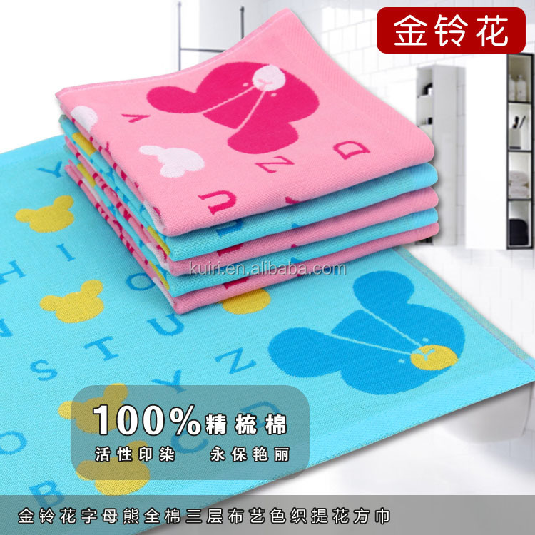 Cute Animal Pattern 35*35 cm Kids Face Towel 3 LAYERs gauze towel baby towel