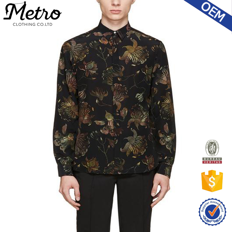 China Factory Wholesale Men Printed Flower Flannel Shirts