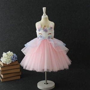 Emmababy 2-9Y kids Sweet Baby Girl Princess dress unicorn Party Pageant  Wedding Tulle Dresses 23164d95e9db