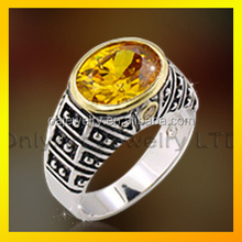 wholesale 925 sterling silver ring with gold yellow stone