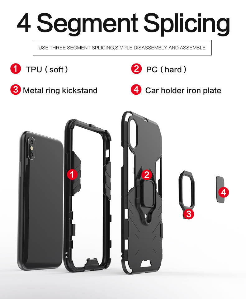Attractive Appearance tpu pc for iphone x 10 back cover phone case with ring holder
