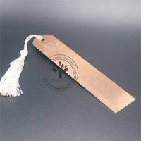 Personalized logo engraved rose gold stainless steel ruler bookmark