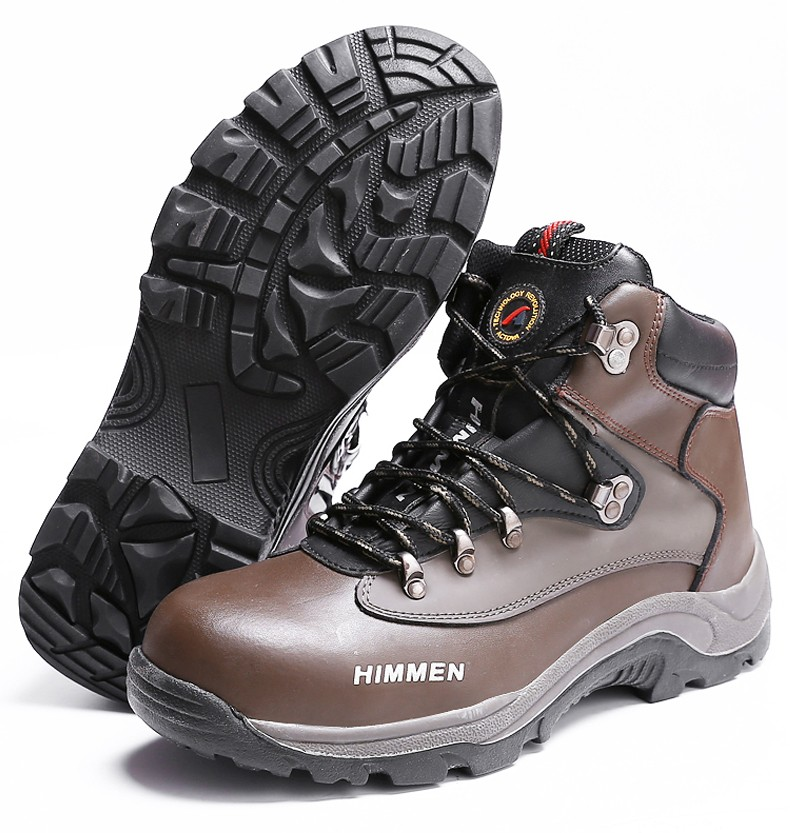 New style genuine leather upper puncture resistant non-slip rubber outsole safety shoes with steel toe/insole