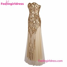 Sparkling Strapless Yellow Evening Dress Sexy Women Without Dress