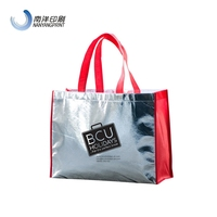 Red And Silver PP Non Woven Medium Tote Bag With LOGO