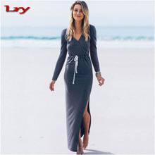 European Style Comfortable Maix Long Dress Party Gambar Sex Dress Most Popular Woman Double Slit Mature Women Dress