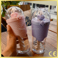2017 Beauchy wholesale protein bottle shaker hard plastic cup with lid and straw OEM Welcomed