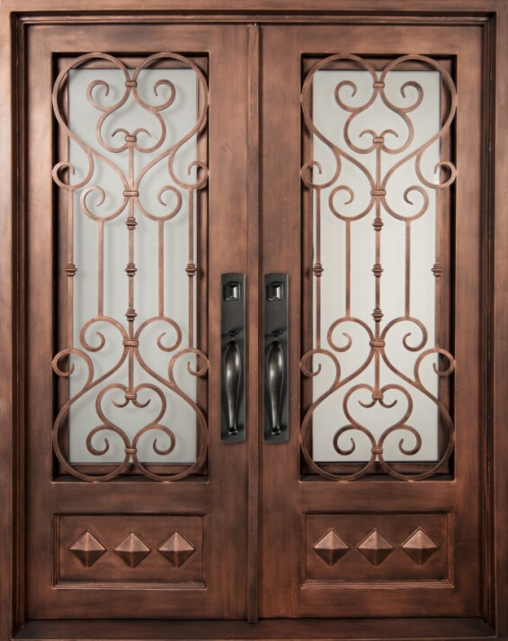 Outdoor elegant wrought iron double entrance door iron for Door gate design
