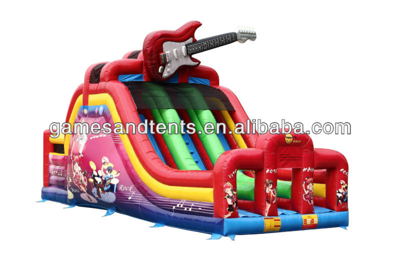 2012 hot funny inflatable slide guitar music theme inflatables A4059