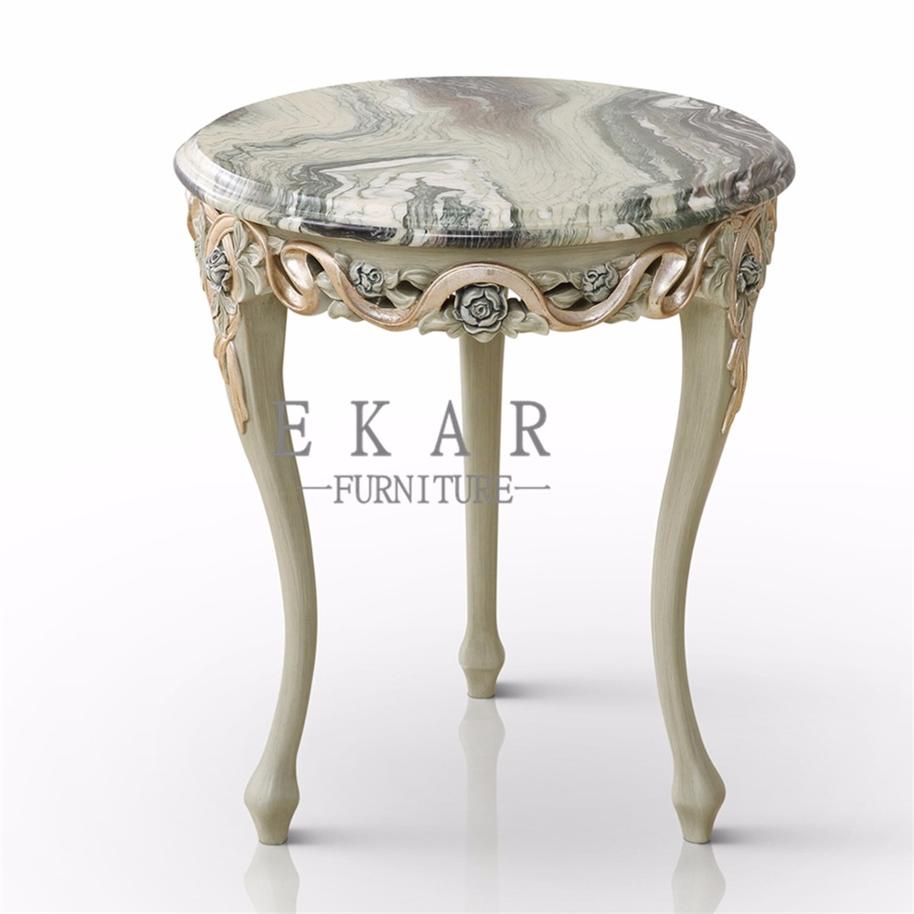 Home Furniture Antique Marble Top Teapoy Corner End Tables