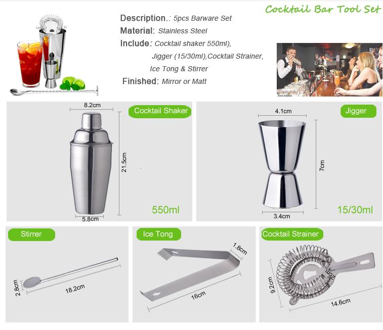 3PCS stainless steel barware set with 250ml cocktail shaker set