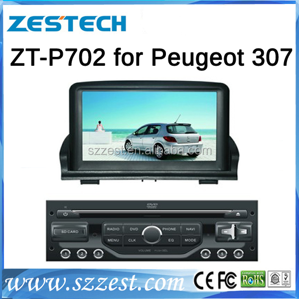 ZESTECH new product China wholesale Car Stereo Navigation Satnav GPS auto parts dvd player for peugeot 307