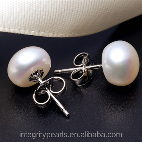 925 sterling silver real button white freshwater pearl jewelry earring stud simple design fresh water pearl earrings for woman