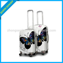 2014 new fashion butterfly printed abs/pc trolley bag trolley luggage with 4 universal wheels luggage