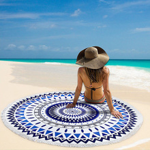 Custom 100% cotton round beach towel with tassel