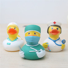 Custom logo printed Eco-friendly PVC Doctor Rubber Duck Bath Toys