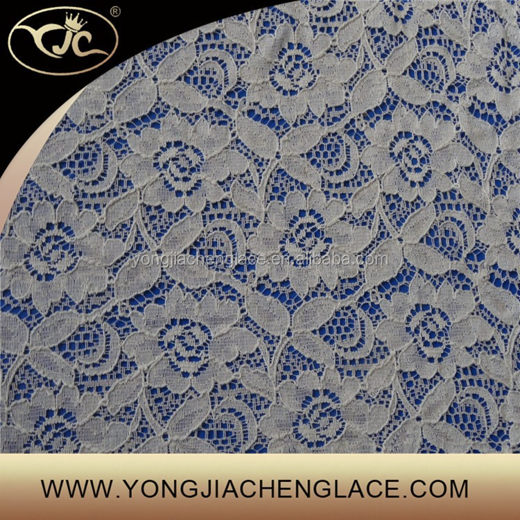 French Most Popular Cotton+Nylon Net Material Lace Fabric For Evening Dress (YJC09999)