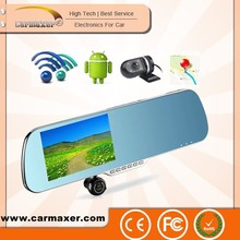 hot sales rearview mirror wiht Android 4.4 Navigation Dual Camera car black box