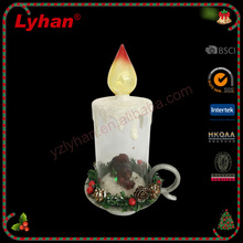 Lyhan resin and glass candle with pine cone 2017 christmas table decoration