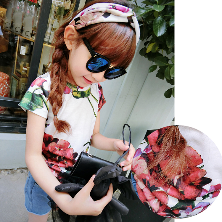 Online Wholesale Girls Printing Flowers Kids Wear T-shirt, Adore Children Clothing