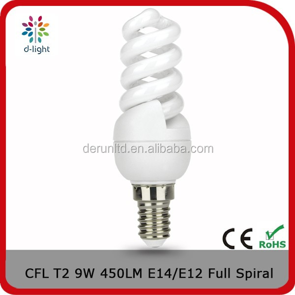 Full spiral T2 450lm 9w incandescent 50w E14 compact fluorescent lamp