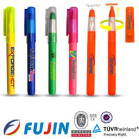 2 in 1 multi functional highlighter and ballpoint clear plastic pens refill combined