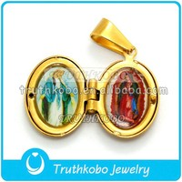Lady of Guadalupe Virgin Mary Pendant Stainless Steel Epoxy Enamel Necklace 14K Gold Plated Opening Religious Locket Pendant