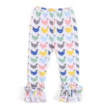 Howell girls different print fabric cotton stretched children icing ruffle pants icing legging