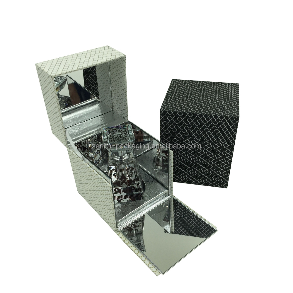 Single plastic perfume box with mirror inside, perfume packaging