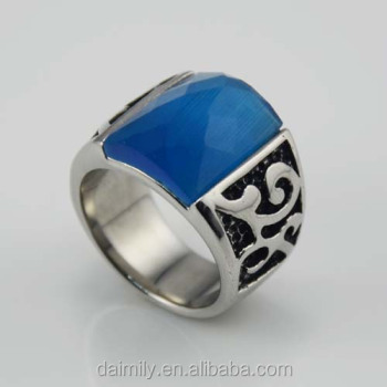 Stainless steel personalized jewelry gothic big Stone Cat eye Rings design for men DSR --020