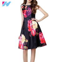 OEM women's clothing New latest design dress women girl's fashion v neck sexy big floral printing fluffy red casual dress