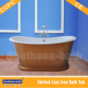 NH-1008-7 1676mm copper freestanding cast iron hot bath tub wrapped in iron skirt