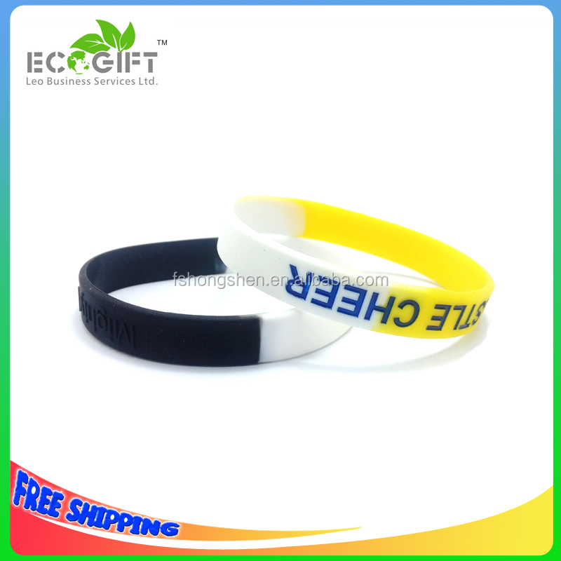 Custom logo multi color silicone band with deboss color filled