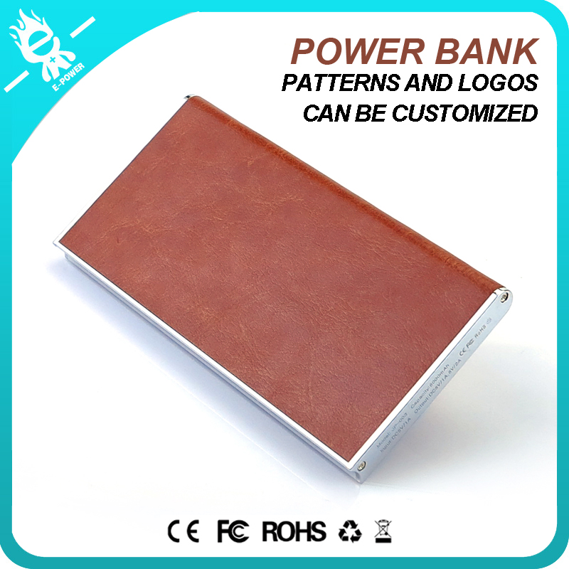 OEM leather powerbank charger mobile power bank 8000mah Pattern Printing