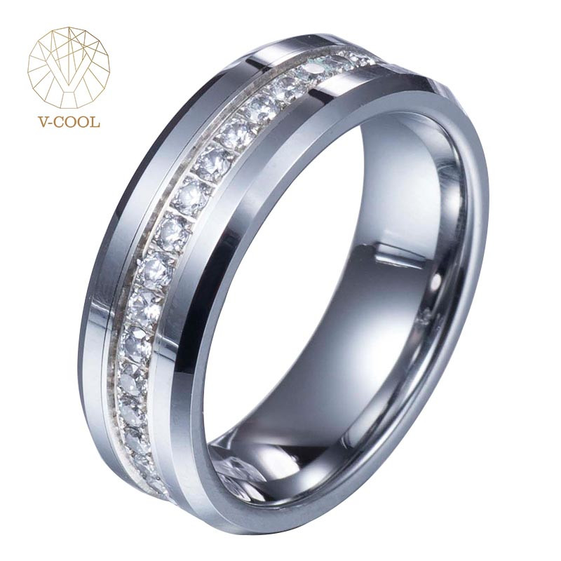 Philippines wedding tungsten cock rings men jewelry with a circle of zircon