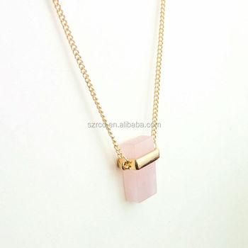 New products Europe and America products rose quartz square necklace jewelry fashion jewelry