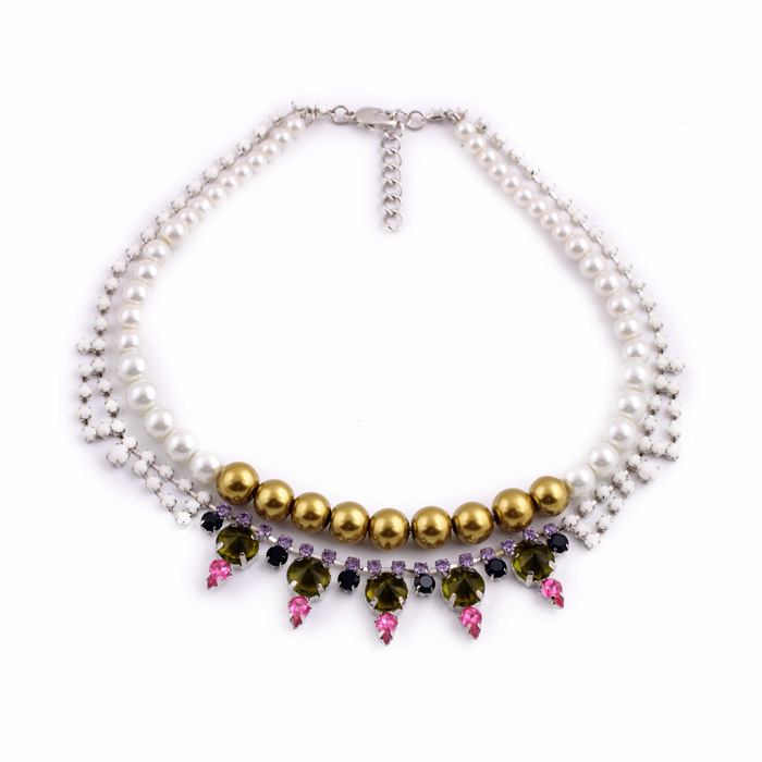 New Design Couple Jewelry Pearl Crystal Choker Necklace