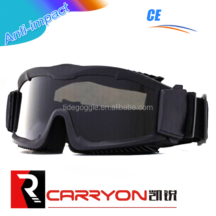 CE standard 2.95mm thick PC anti-fog lens Carryon safety airsoft goggle