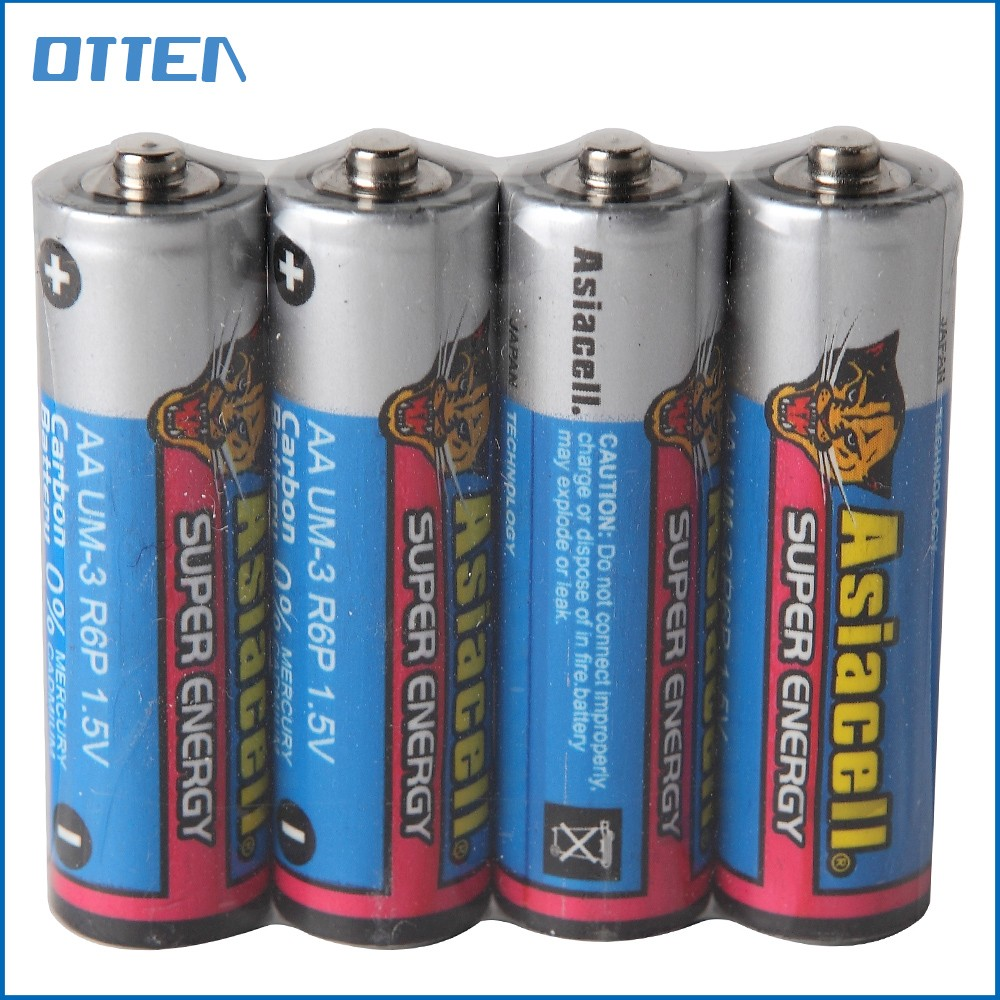 R6P 1.5v carbon zinc battery aa batteries bulk dry cell battery sizes