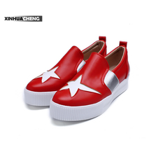 genuine leather canvas lady flat shoes upper