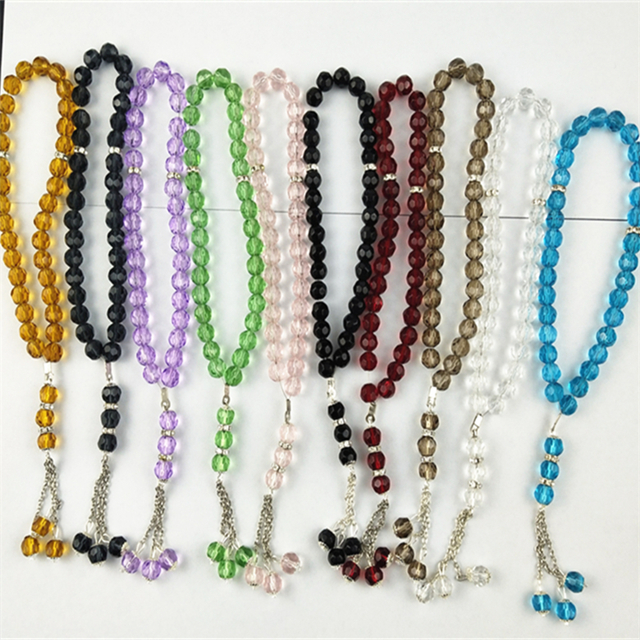 free shipping Factory directly sale islamic Muslim Prayer Beads 10pcs / Lot/ 33pcs/strand glass <strong>crystal</strong> K5 praye