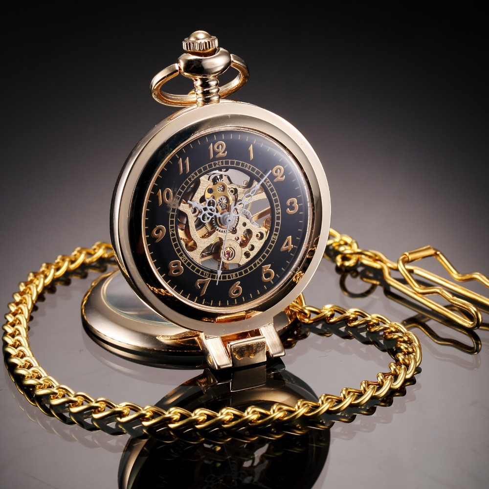 Elegant Hollow Hand Winding Mechanical Analog Men Pocket Watch