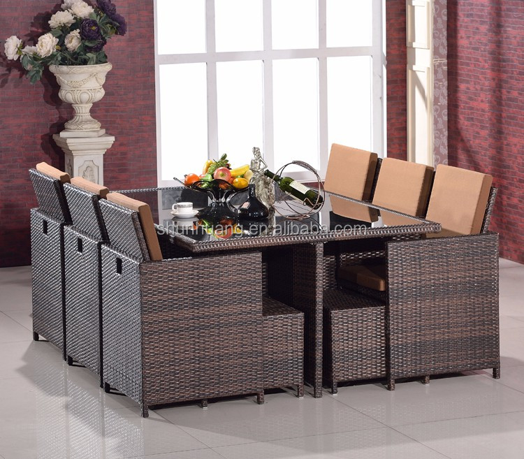 Hot sale outdoor PE rattan chair garden wicker dining furniture dining sets table and chair