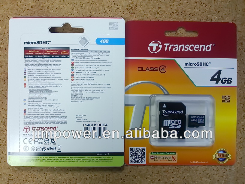 Transcend Micro SD Class 4 with adaptor