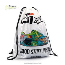 2018 Best selling fashion design custom printed plastic drawstring bag