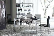 modern beautiful antique stainless steel temper glass living room furniture set