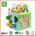 5 in 1 Children Learning Activity Cube, with Wooden Bead Maze Toy