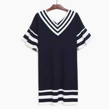 Low MOQ customized women dress shirt girls' polo t shirt striped woman dress