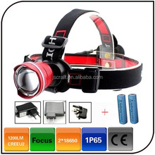 HIgh Power Aluminum 3 Mode CREE XML U2 10W Rechargeable Zoom Led Headlamp