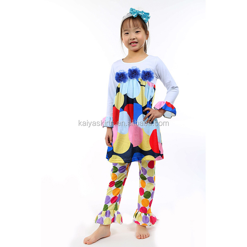 White Long Sleeve Rainbow Circle Dress Pant Set high quality Cotton Baby Girls Clothing